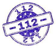 Scratched Textured 112 Stamp Seal. 112 stamp seal watermark with grunge texture. Designed with rounded rectangles and circles. Blue vector rubber print of 112 vector illustration