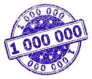 Scratched Textured 1 000 000 Stamp Seal. 1 000 000 stamp seal watermark with grunge texture. Designed with rounded rectangles and circles. Blue vector rubber royalty free illustration