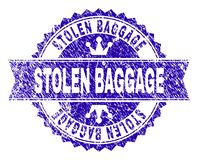 Scratched Textured STOLEN BAGGAGE Stamp Seal with Ribbon. STOLEN BAGGAGE rosette stamp seal overlay with grunge texture. Designed with round rosette, ribbon and stock illustration