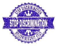Scratched Textured STOP DISCRIMINATION Stamp Seal with Ribbon. STOP DISCRIMINATION rosette stamp seal imprint with grunge style. Designed with round rosette royalty free illustration