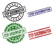 Scratched Textured STOP DISCRIMINATION Stamp Seals. STOP DISCRIMINATION seal prints with damaged surface. Black, green,red,blue vector rubber prints of STOP royalty free illustration