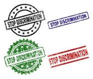 Scratched Textured STOP DISCRIMINATION Stamp Seals royalty free illustration