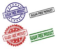 Scratched Textured SUGAR FREE PRODUCT Stamp Seals. SUGAR FREE PRODUCT seal prints with damaged style. Black, green,red,blue vector rubber prints of SUGAR FREE Royalty Free Illustration