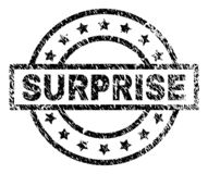 Scratched Textured SURPRISE Stamp Seal. SURPRISE stamp seal watermark with distress style. Designed with rectangle, circles and stars. Black vector rubber print stock illustration