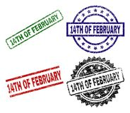 Scratched Textured 14TH OF FEBRUARY Stamp Seals. 14TH OF FEBRUARY seal prints with distress texture. Black, green,red,blue vector rubber prints of 14TH OF vector illustration