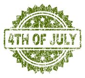 Scratched Textured 4TH OF JULY Stamp Seal. 4TH OF JULY stamp seal watermark with corroded style. Green vector rubber print of 4TH OF JULY label with corroded vector illustration