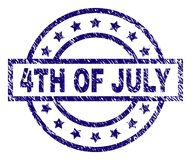 Scratched Textured 4TH OF JULY Stamp Seal. 4TH OF JULY stamp seal watermark with distress texture. Designed with rectangle, circles and stars. Blue vector rubber royalty free illustration