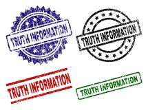 Scratched Textured TRUTH INFORMATION Seal Stamps. TRUTH INFORMATION seal prints with corroded surface. Black, green,red,blue vector rubber prints of TRUTH stock illustration