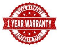 Scratched Textured 1 YEAR WARRANTY Stamp Seal. 1 YEAR WARRANTY seal print with corroded texture. Rubber seal imitation has round medal form and contains ribbon vector illustration