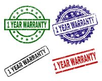 Scratched Textured 1 YEAR WARRANTY Stamp Seals. 1 YEAR WARRANTY seal prints with corroded style. Black, green,red,blue vector rubber prints of 1 YEAR WARRANTY vector illustration