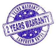 Scratched Textured 2 YEARS WARRANTY Stamp Seal. 2 YEARS WARRANTY stamp seal imprint with distress texture. Designed with rounded rectangles and circles. Blue vector illustration