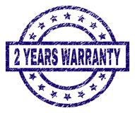 Scratched Textured 2 YEARS WARRANTY Stamp Seal. 2 YEARS WARRANTY stamp seal watermark with grunge texture. Designed with rectangle, circles and stars. Blue vector illustration