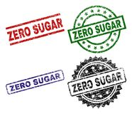 Scratched Textured ZERO SUGAR Seal Stamps. ZERO SUGAR seal prints with distress texture. Black, green,red,blue vector rubber prints of ZERO SUGAR tag with retro Stock Illustration