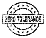 Scratched Textured ZERO TOLERANCE Stamp Seal. ZERO TOLERANCE stamp seal watermark with distress style. Designed with rectangle, circles and stars. Black vector royalty free illustration