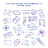 Scratched vector visa travel stamps isolated on white Royalty Free Stock Photos