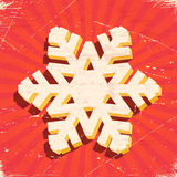 Scratched vintage card with 3D christmas snowflake Royalty Free Stock Photo