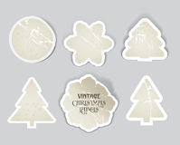 Scratched vintage christmas style labels set Royalty Free Stock Photography
