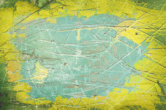 Scratched wall background green and yellow Royalty Free Stock Photos