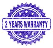 Scratched 2 YEARS WARRANTY Stamp Seal. 2 YEARS WARRANTY stamp watermark with dirty style. Blue vector rubber seal print of 2 YEARS WARRANTY label with dust vector illustration
