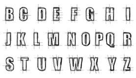 Scratchy алфавит иллюстрация вектора