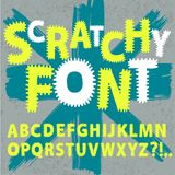 Scratchy funny font. Hand drawn ABC letters on old wall background.Scratchy funny font for your design Vector Illustration
