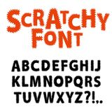 Scratchy funny font. Hand drawn vector ABC letters.Scratchy funny font font for your design Vector Illustration