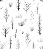 Scratchy Trees Black Silhouettes Seamless Pattern Stock Image