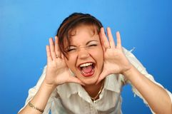 Scream. Woman screaming Royalty Free Stock Photography