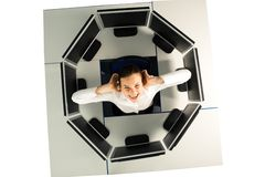 Scream. Image of angry screaming businesswoman surrounded by computers Stock Image