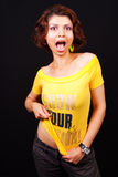 Scream of active playful cute trendy woman Royalty Free Stock Photography