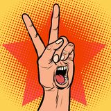 Scream delight mouth emotion hand victory gesture. Comic cartoon pop art retro vector illustration drawing vector illustration