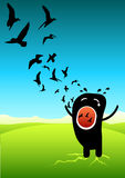 Scream for freedom. Illustration of a screaming with birds flying out of his mouth stock illustration