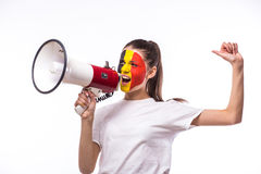 Scream on megaphone Belgian football fan in game supporting of Belgium national team Stock Images