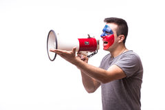 Scream on megaphone Czech on football fan in game supporting of Czech Republic Royalty Free Stock Image