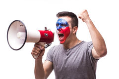 Scream on megaphone Czech  football fan in game supporting of Czech Republic Royalty Free Stock Photography