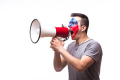 Scream on megaphone Czech on Turkey football fan Stock Photos