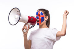 Scream on megaphone Icelander football fan in game supporting of Iceland national team Royalty Free Stock Photo