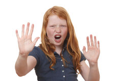 Scream. Portrait of a screaming young girl on white background Royalty Free Stock Photo