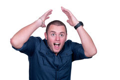 Scream of shocked and scared man Stock Images