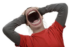 Scream. Stressed upset big loud angry noise scream royalty free stock photo