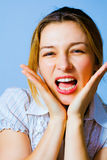 Scream of surprised and excited one happy woman Stock Image