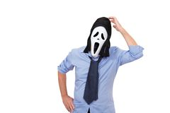 Scream. Various positions of masked businessman with a scream mask Royalty Free Stock Images