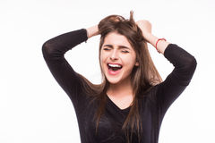 Scream young girl Stock Photo