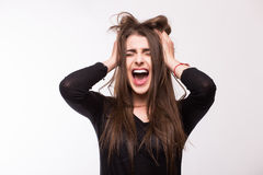 Scream young girl. On white background Stock Photos