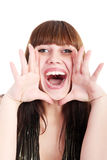 Screaming. Woman is screaming out loud Royalty Free Stock Photography