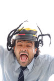Screaming. Portrait of a man using a cap and screaming Stock Photos