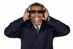 A screaming African-American man with headphones Royalty Free Stock Photo