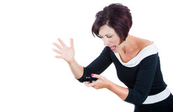 Screaming angry woman, wife, executive on the mobile phone. Royalty Free Stock Photo