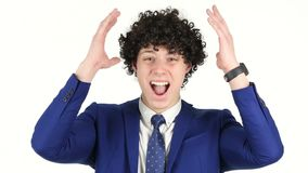 Screaming Angry Young Businessman, White Background. Designer , young man , handsome stock video