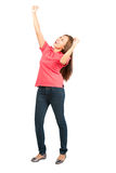 Screaming Asian Female Fist Pumping Celebration Royalty Free Stock Photography